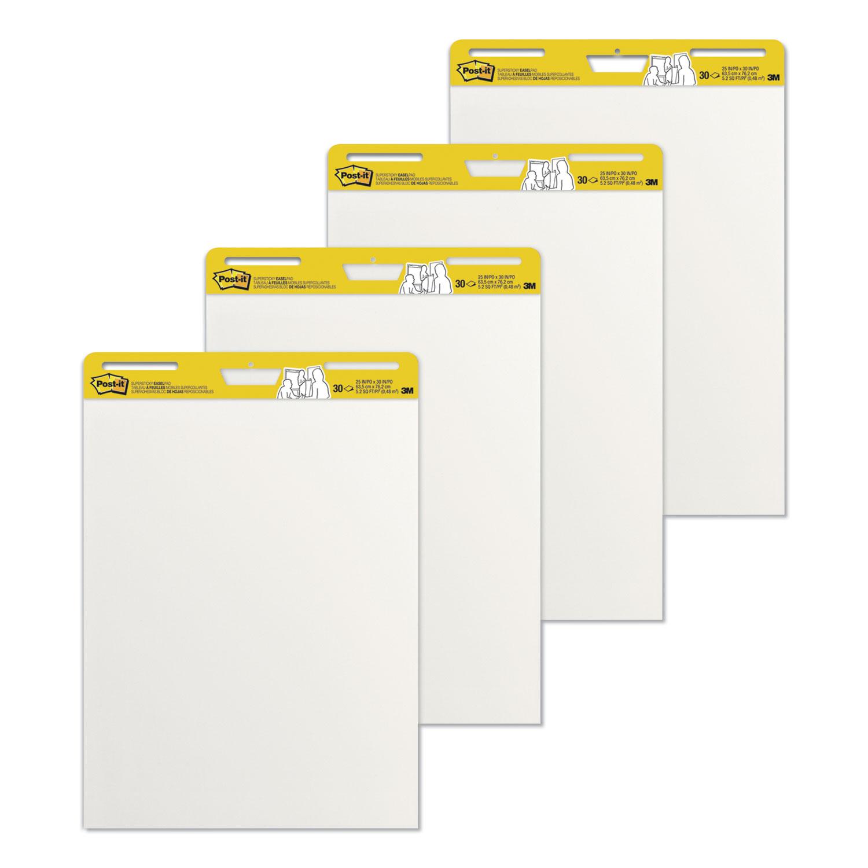 Self-Stick Easel Pads, 25 x 30, White, 30 Sheets, 4/Carton