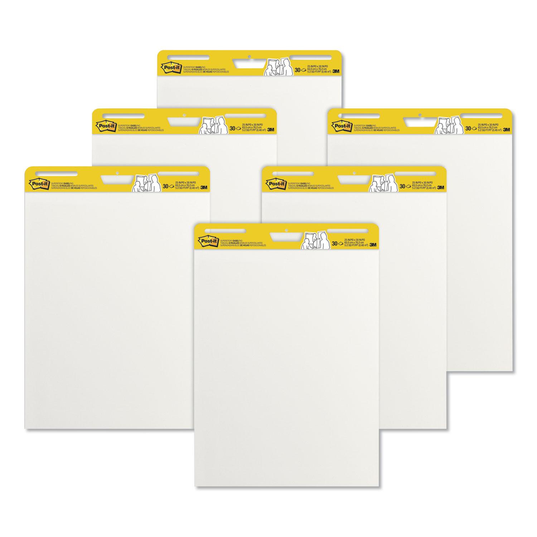 Self-Stick Easel Pads, 25 x 30, White, 30 Sheets, 6/Carton