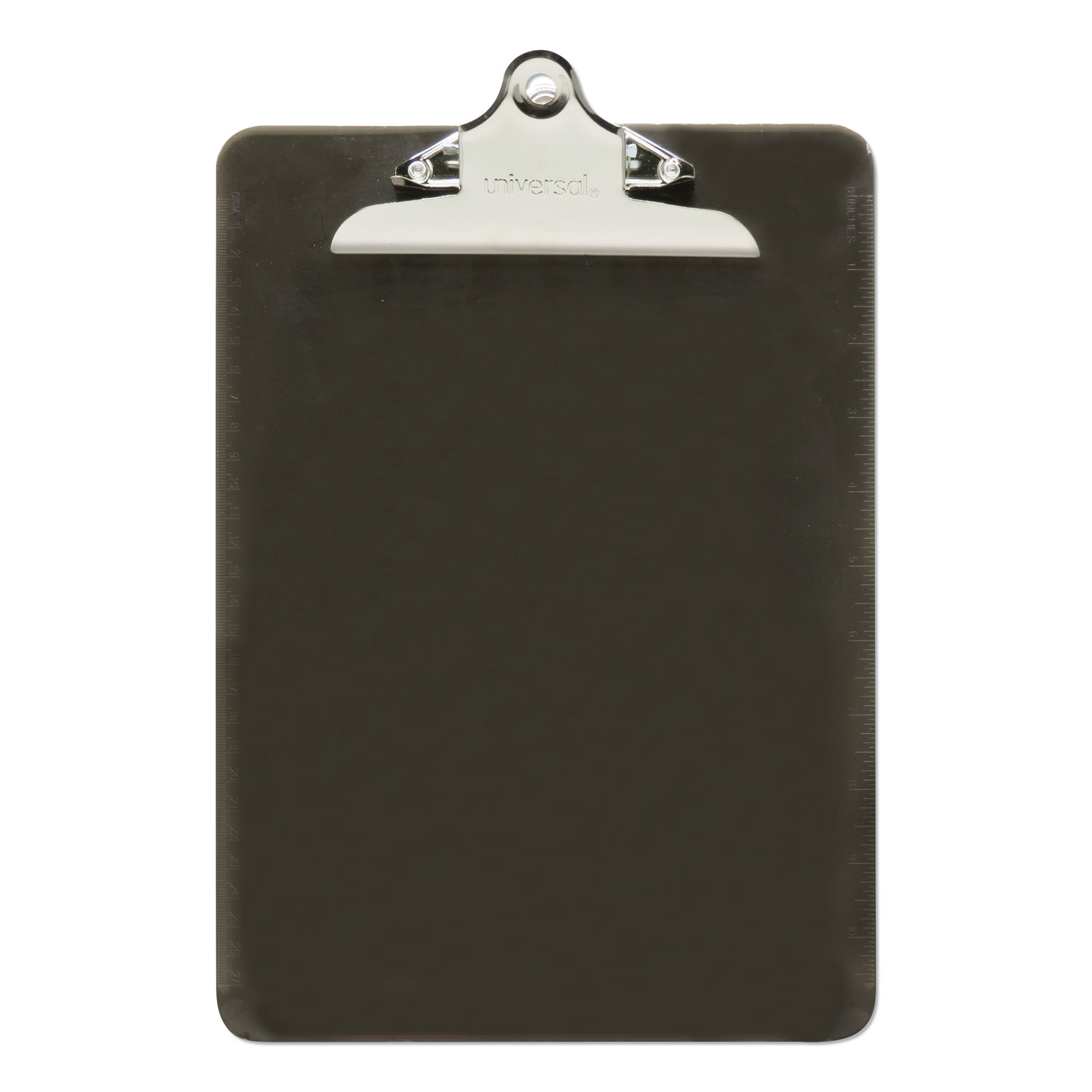 """Plastic Clipboard w/High Capacity Clip, 1"""", Holds 8 1/2 x 12, Translucent Black"""