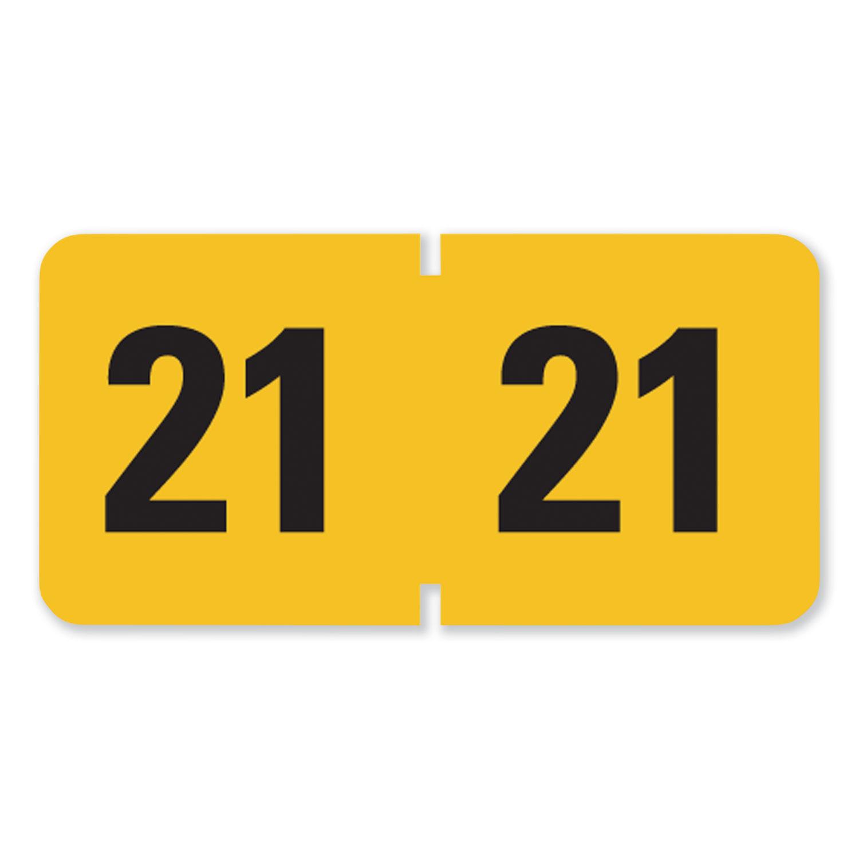 Year 2021 End Tab Folder Labels, 1.5 x 0.75, Yellow/Black, 500 Labels/Roll