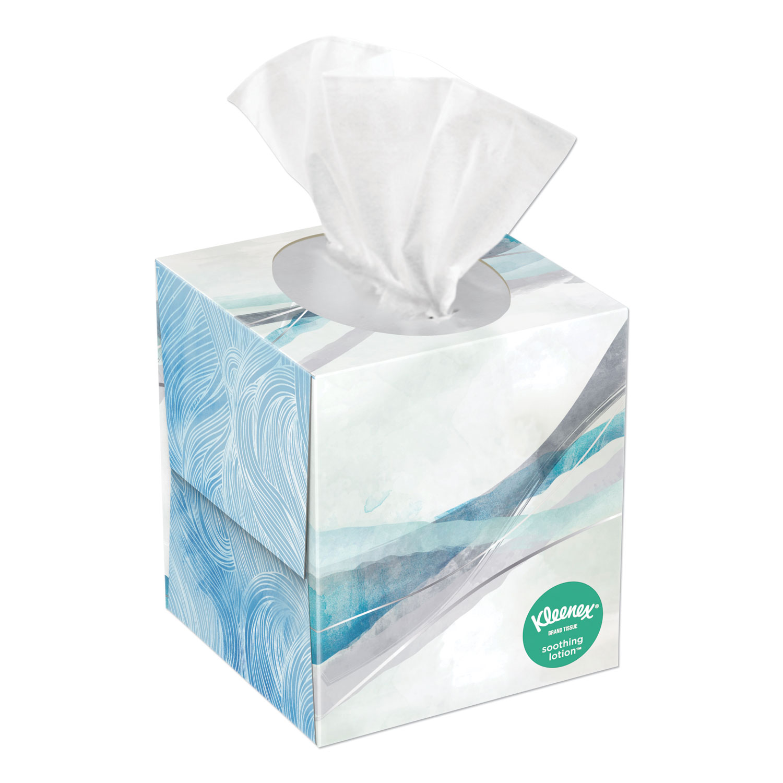 Lotion Facial Tissue, 2-Ply, White, 65 Sheets/Box