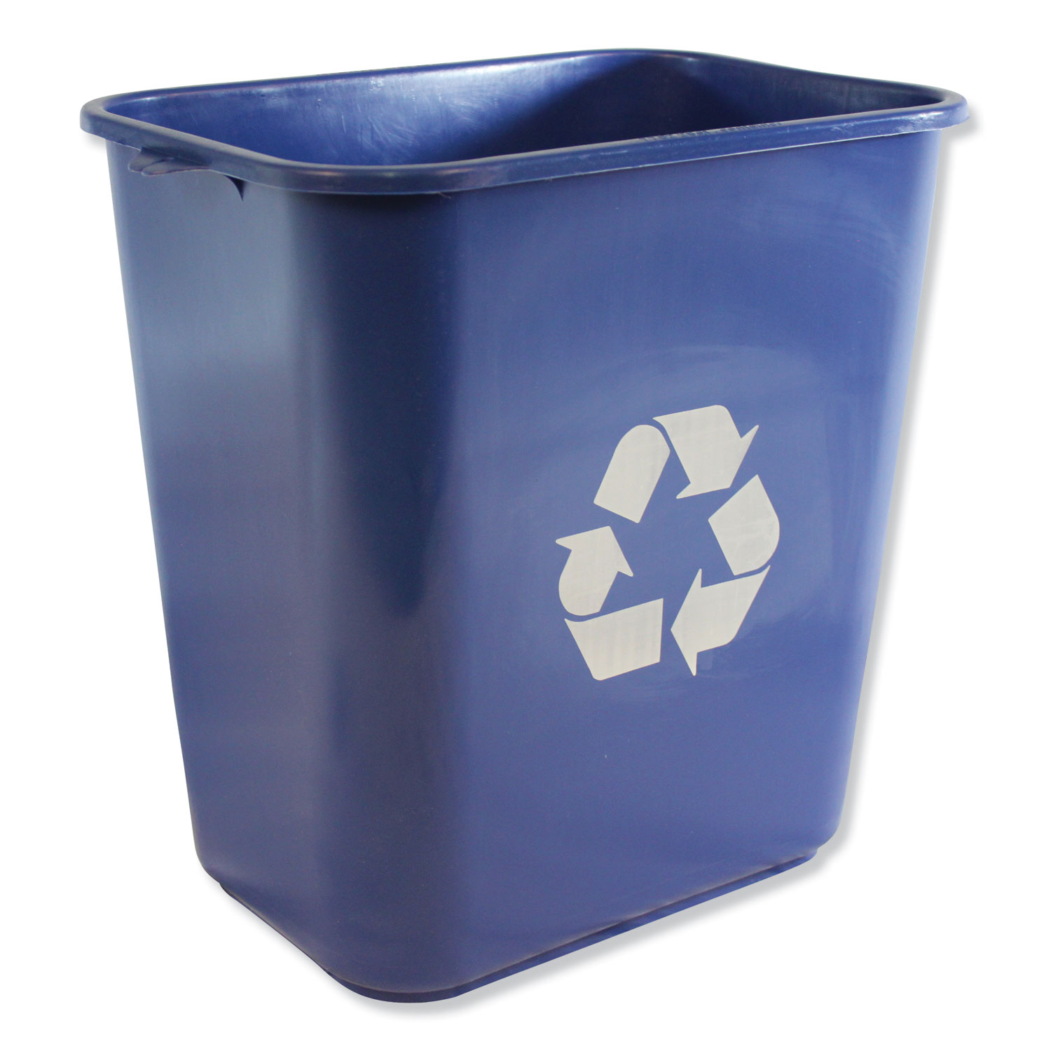 Soft-Sided Recycle Logo Plastic Wastebasket, Rectangular, 28 qt, Polyethylene, Blue