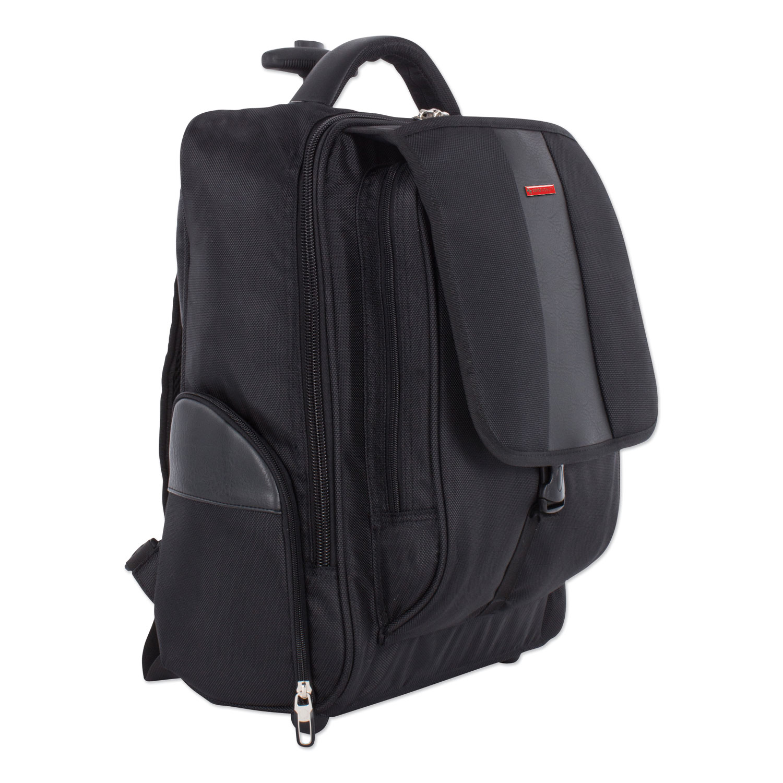 """Litigation Backpack On Wheels, Holds Laptops 15.6"""", 9"""" x 9"""" x 18"""", Black"""