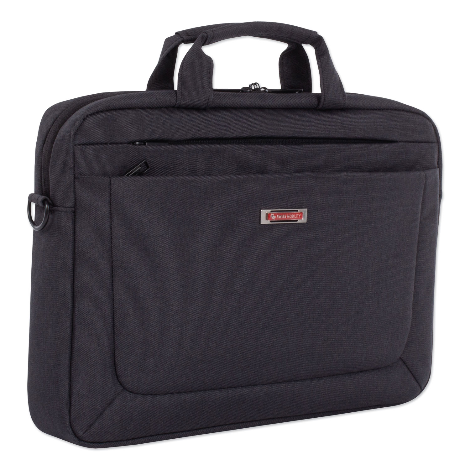 """Cadence Slim Briefcase, Holds Laptops 15.6"""", 3.5"""" x 3.5"""" x 16"""", Charcoal"""