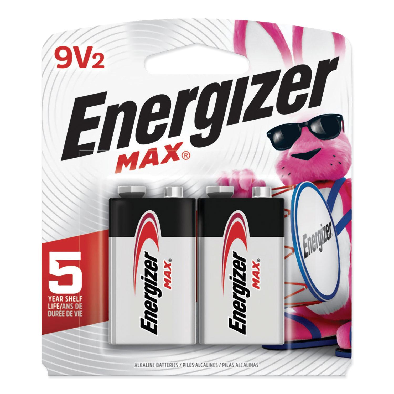 MAX Alkaline 9V Batteries, 2/Pack