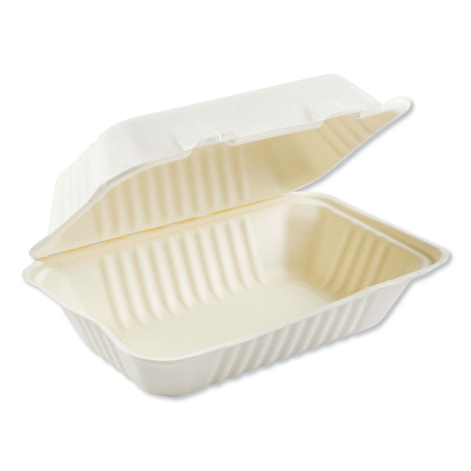 Bagasse Molded Fiber Food Containers, Hinged-Lid, 1-Compartment 9 x 6, White, 125/Sleeve, 2 Sleeves/Carton