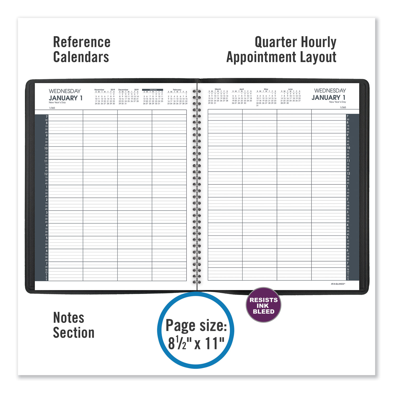 Eight-Person Group Daily Appointment Book, 11 x 8 1/2, White, 2020