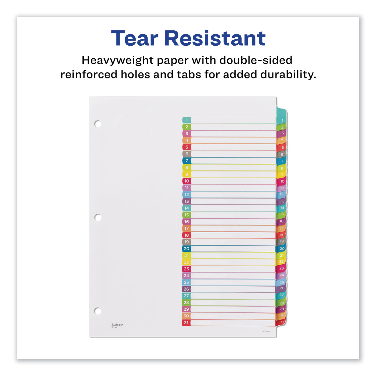 """Letter/"""" 1-31 /""""Avery Ready Index Table Of Contents Dividers Multicolor Tabs"""