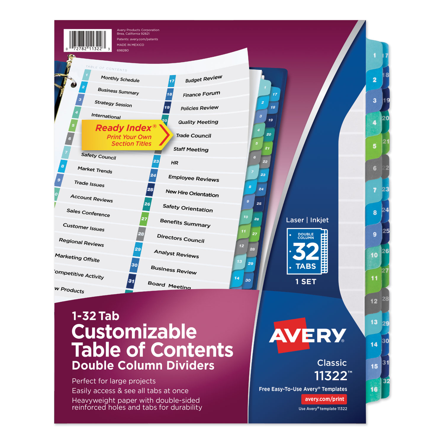 Customizable TOC Ready Index Double Column Multicolor Dividers, 32-Tab, Letter