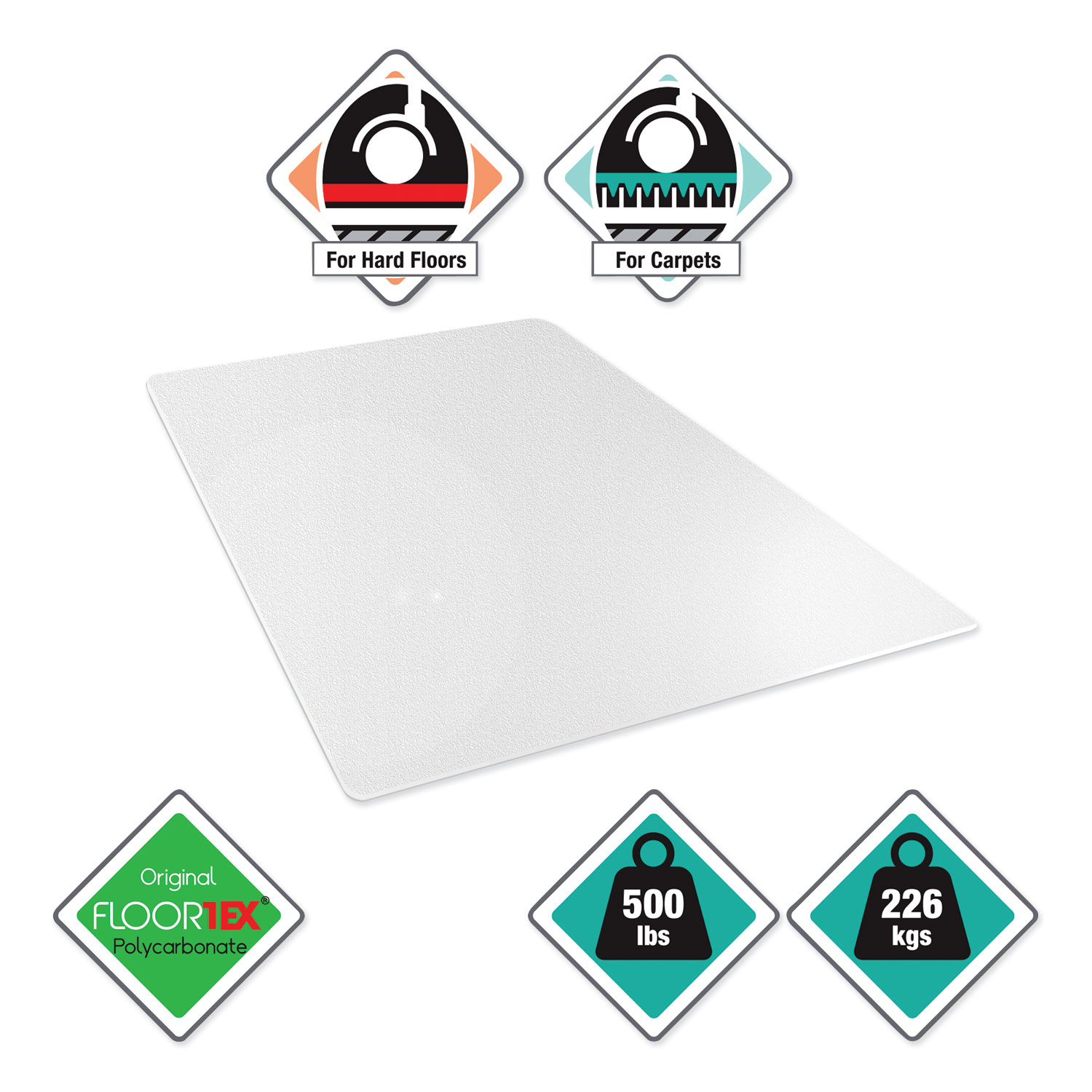 Cleartex Megamat Heavy Duty Polycarbonate Mat For Hard Floor All Carpet 46 X 53 Clear United Imaging