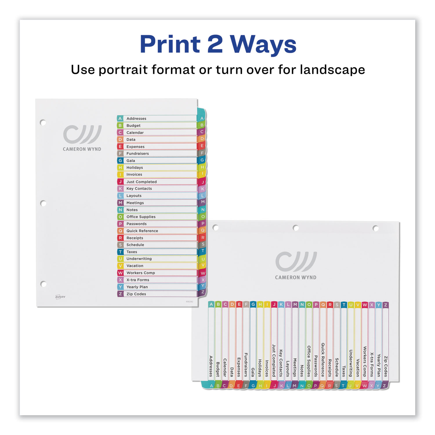 """Multicolor Tabs Letter/"""" A-Z /""""Avery Ready Index Table Of Contents Dividers"""