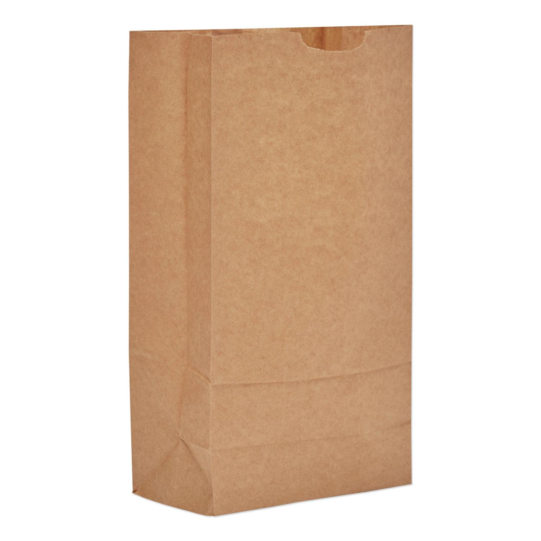 "Grocery Paper Bags, 57 lbs Capacity, #10, 6.31""w x 4.19""d x 13.38""h, Kraft, 500 Bags BAGGX10500"