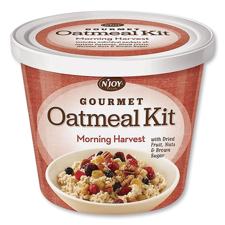 NJoy Gourmet Oatmeal Kit, Morning Burst, 3.42 oz Cup, 8/Carton