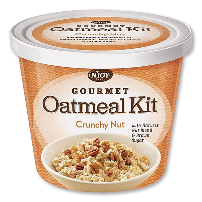 NJoy Gourmet Oatmeal Kit, Crunchy Nut, 2.33 oz Cup, 8/Carton