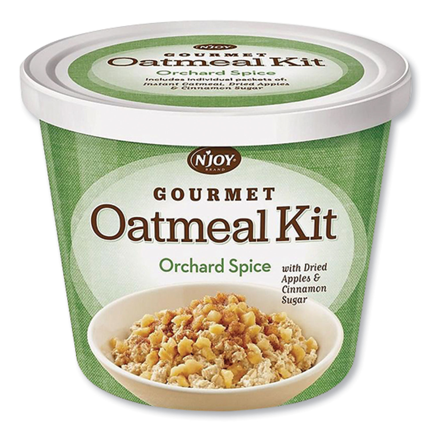NJoy Gourmet Oatmeal Kit, Orchard Spice, 2.55 oz Cup, 8/Carton