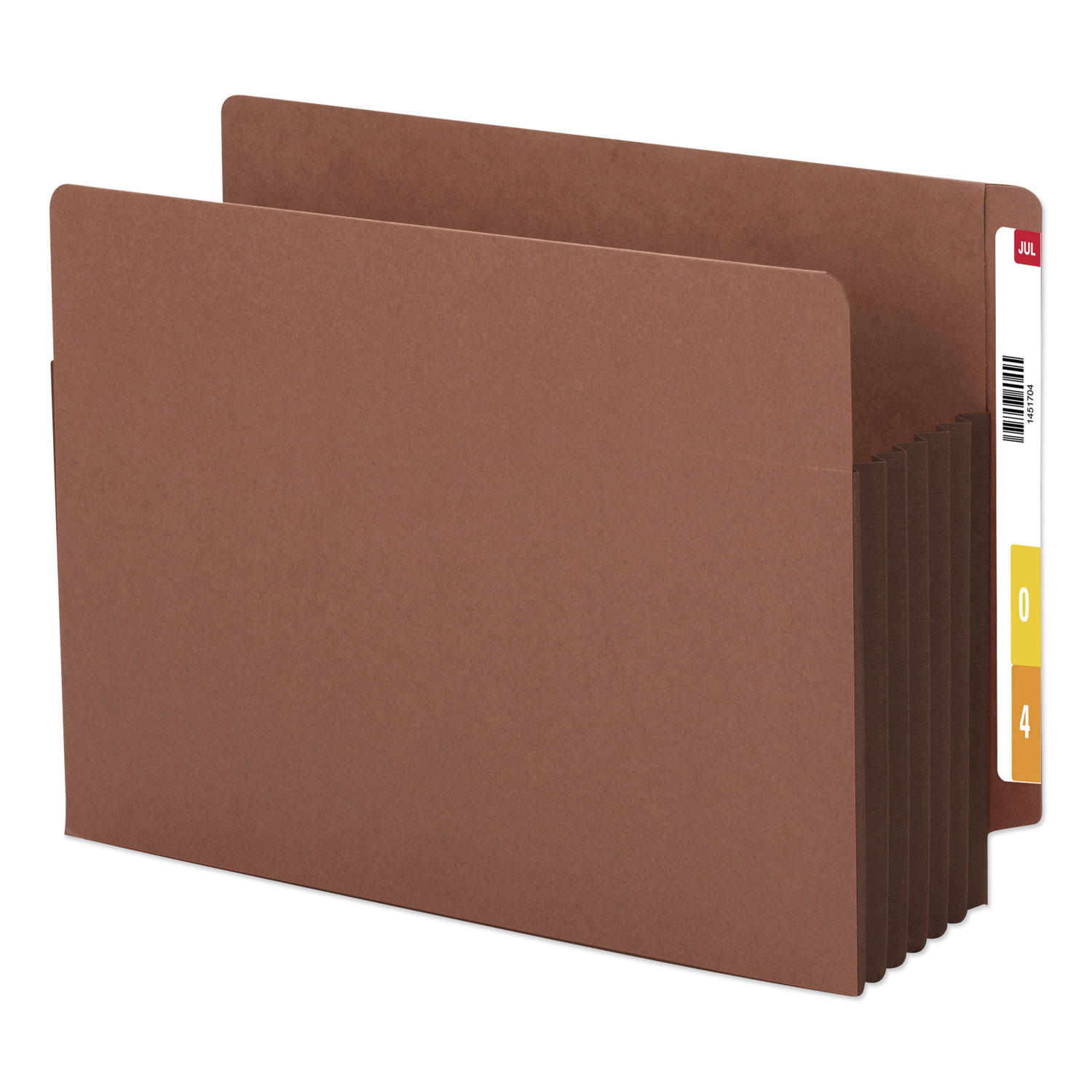 """Redrope Drop-Front End Tab File Pockets w/ Fully Lined Colored Gussets, 5.25"""" Exp, Letter Size, Redrope/Dark Brown, 10/Box"""