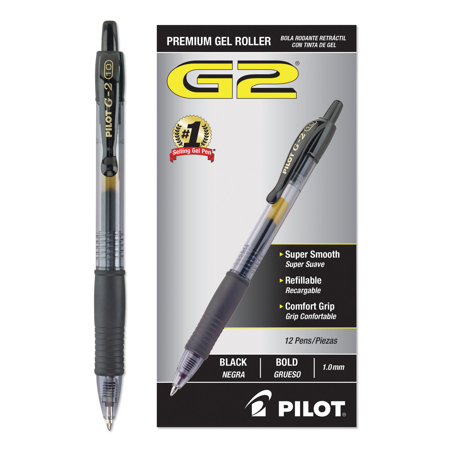 G2 Premium Retractable Gel Pen, Bold 1mm, Black Ink, Smoke Barrel, Dozen