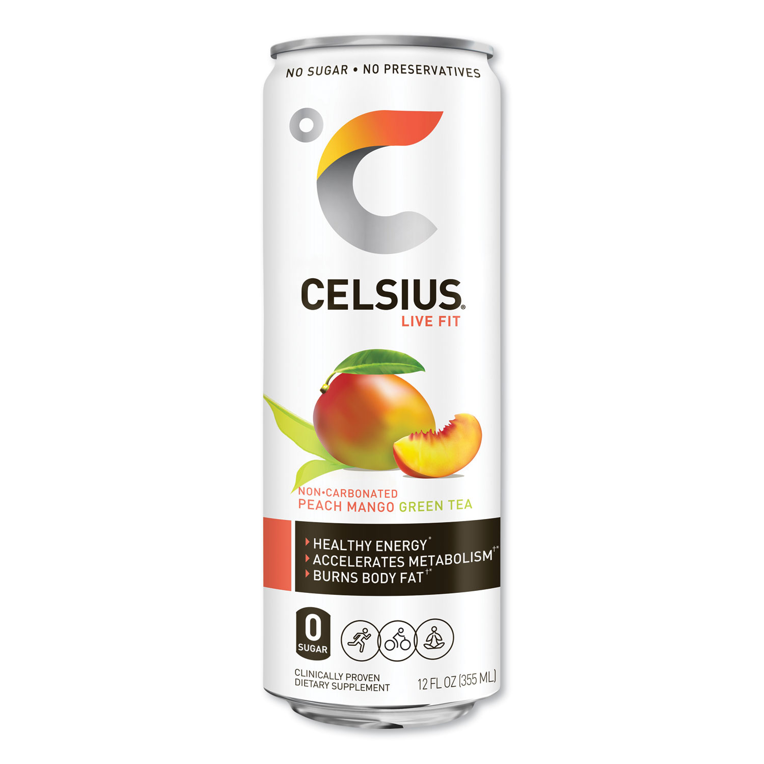 Celsius® Live Fit Fitness Drink, Peach Mango Green Tea, 12 oz Can, 12/Carton