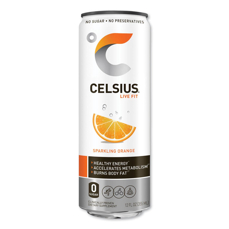 Celsius® Live Fit Fitness Drink, Sparkling Orange,12 oz Can, 12/Carton