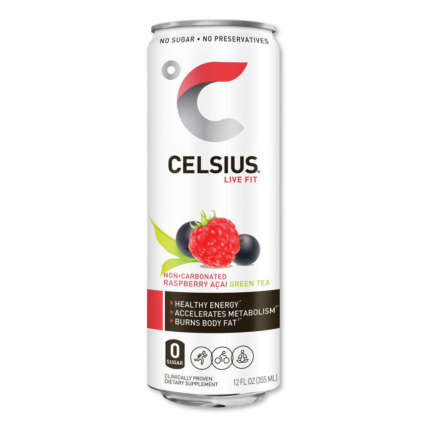 Celsius® Live Fit Fitness Drink, Raspberry Acai Green Tea, 12 oz Can, 12/Carton