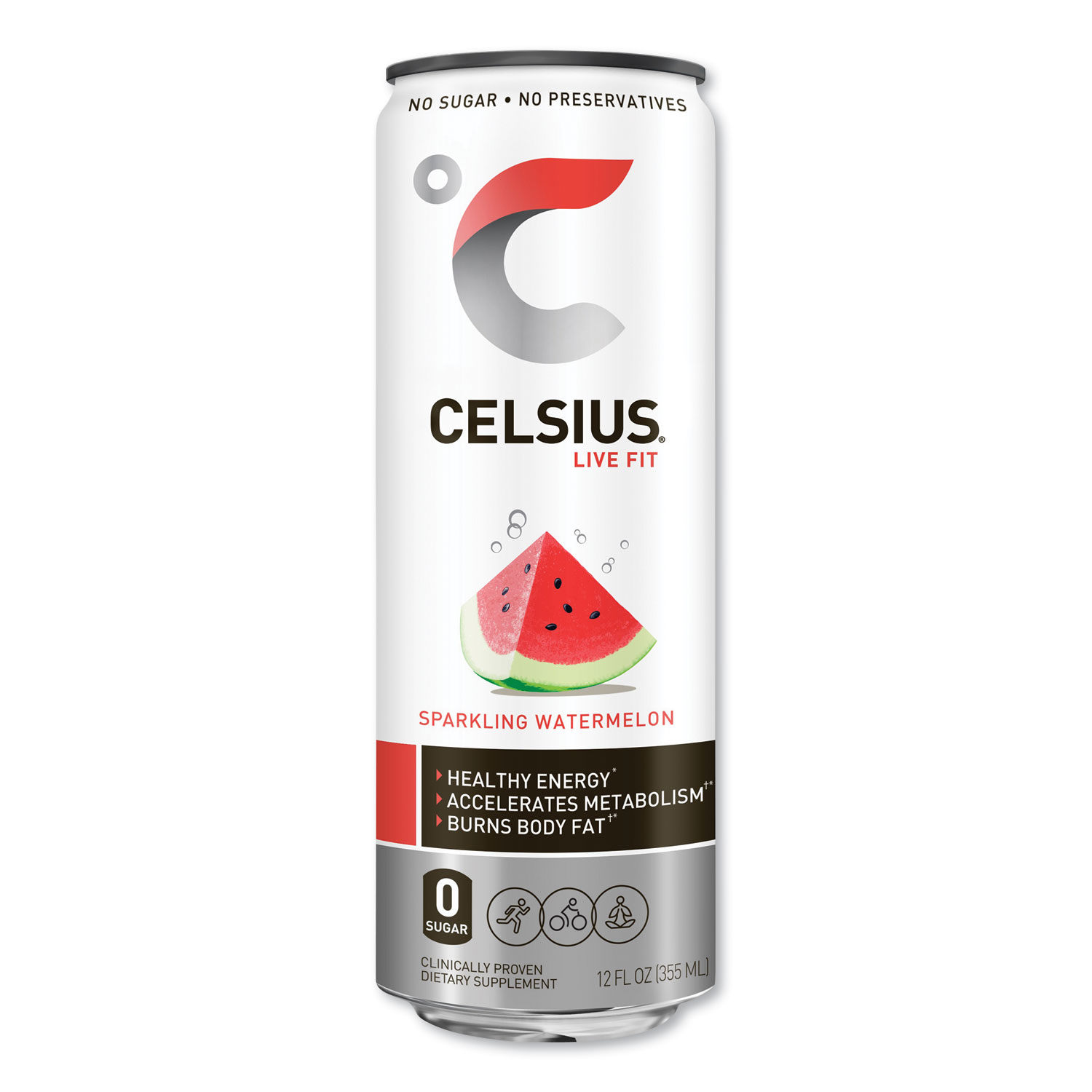 Celsius® Live Fit Fitness Drink, Sparkling Watermelon, 12 oz Can, 12/Carton