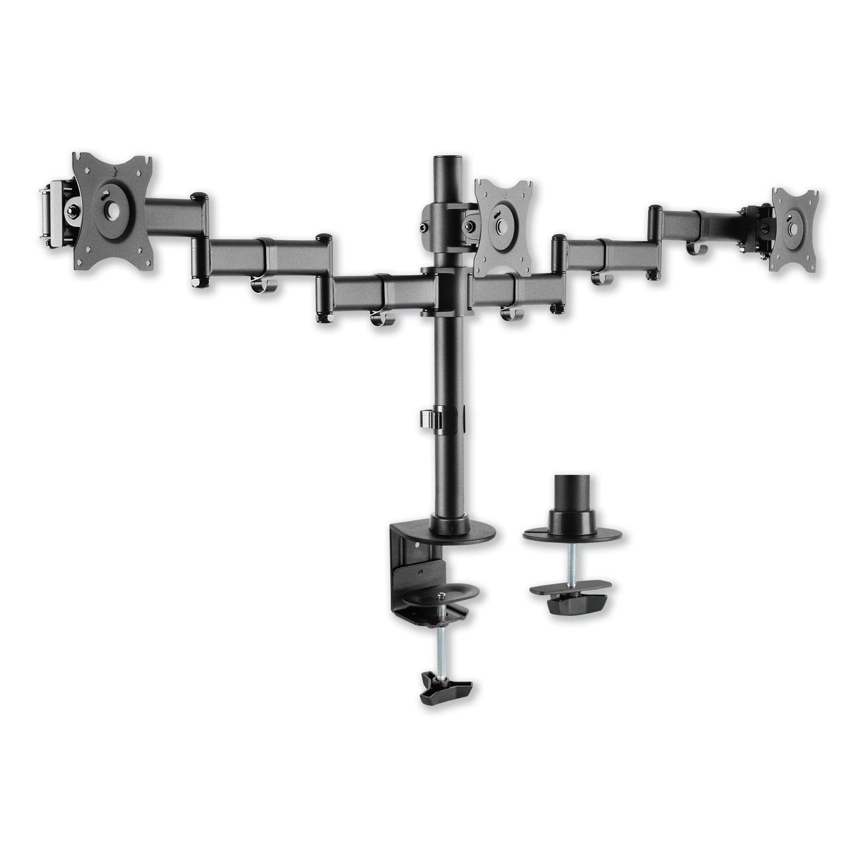 """AdaptivErgo Pole-Mounted Monitor Arm, Triple Monitor up to 27"""", Black"""