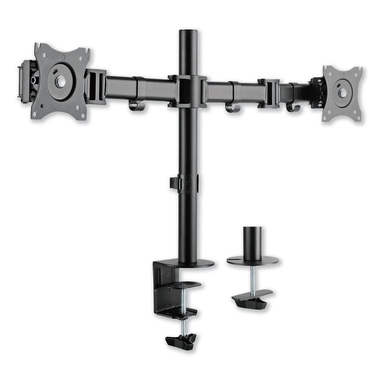 "AdaptivErgo Pole-Mounted Monitor Arm, Dual Monitor up to 30"", Black"
