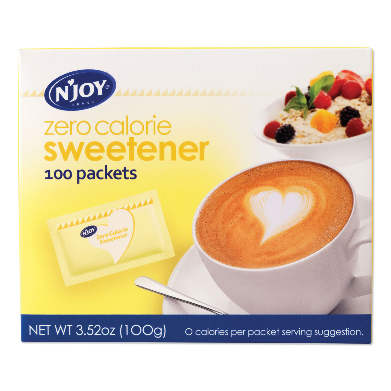 NJoy Yellow Sucralose Zero Calorie Sweetener Packets, 1 g Packet, 100 Packets/Box