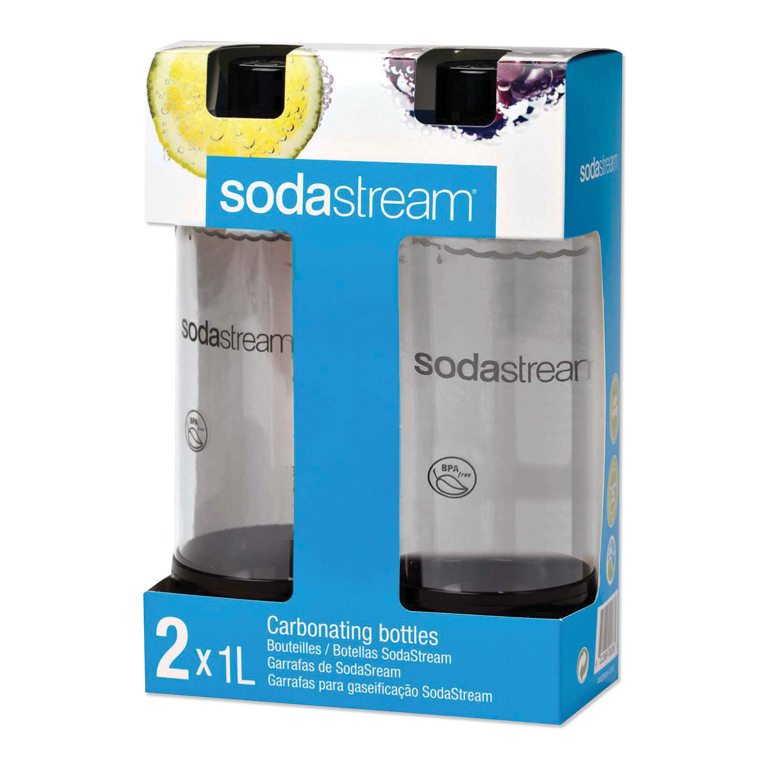 SodaStream® Carbonating Bottle Twin Pack, Plastic, 33 oz, Black/Clear