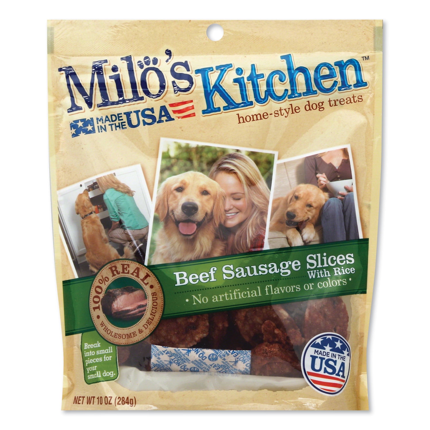 Milos Kitchen® Homestyle Dog Treats, Beef Sausage Slices with Rice, 10 oz Pouch, 5 Pouches/Carton