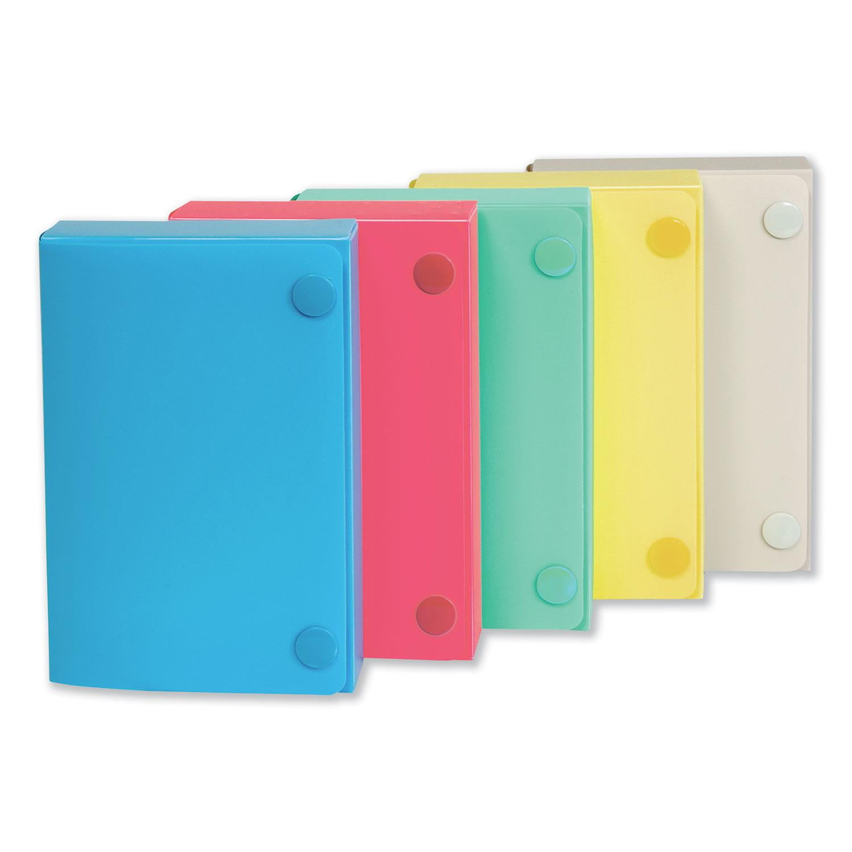 Index Card Case, Holds 100 3 x 5 Cards, Polypropylene, Assorted