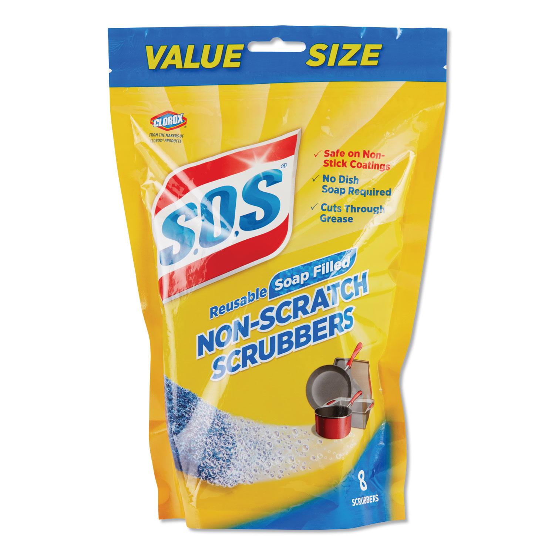 Non-Scratch Soap Scrubbers, Blue, 8/Pack