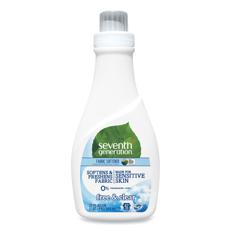 Natural Liquid Fabric Softener, Free & Clear, 42 Loads, 32 oz Bottle, 6/Carton