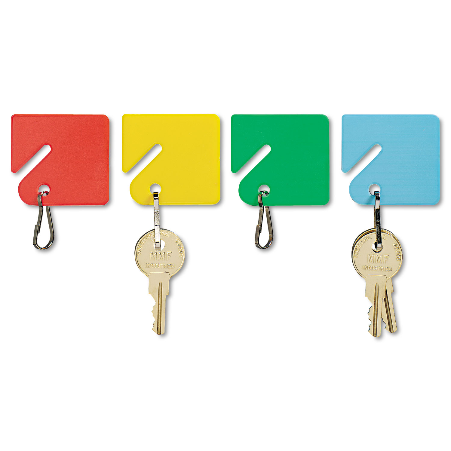Slotted Rack Key Tags, Plastic, 1 1/2 x 1 1/2, Assorted, 20/Pack