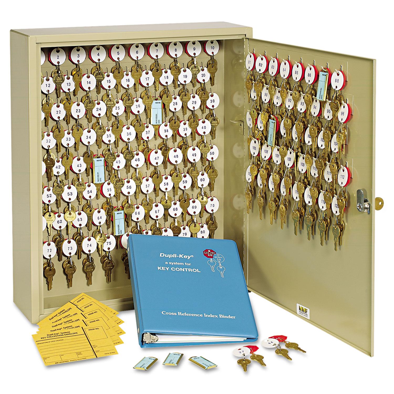 Locking Two-Tag Cabinet, 120-Key, Welded Steel, Sand, 16 1/2 x 4 7/8 x 20 1/8