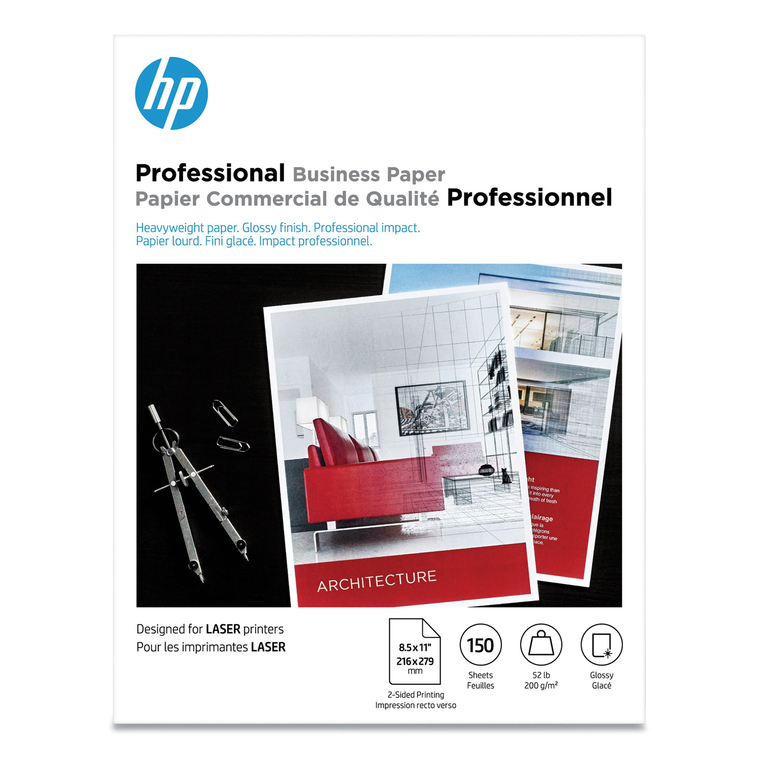 Professional Business Paper, 52 lb, 8.5 x 11, Glossy White, 150/Pack
