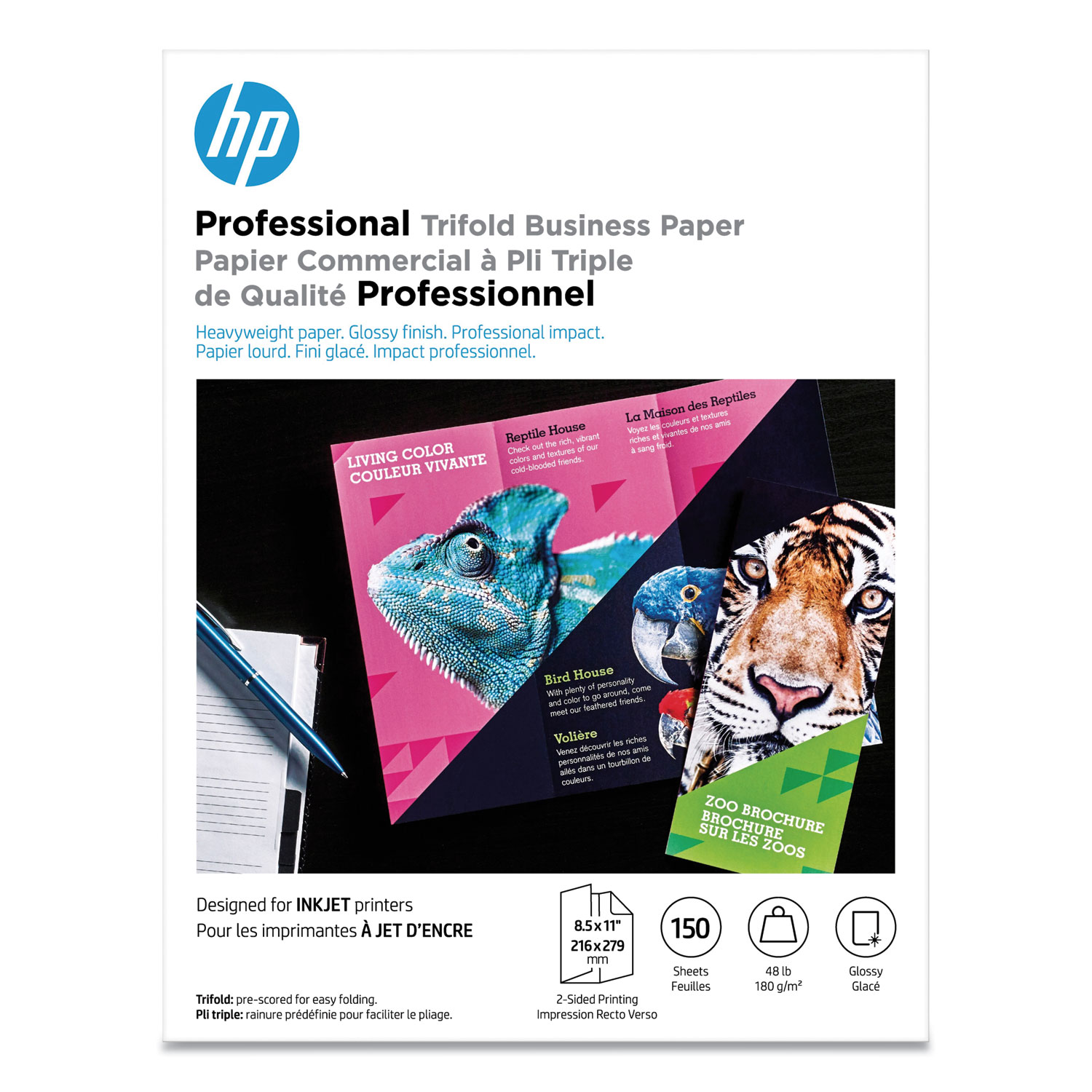Professional Trifold Business Paper, 48 lb, 8.5 x 11, Glossy White, 150/Pack