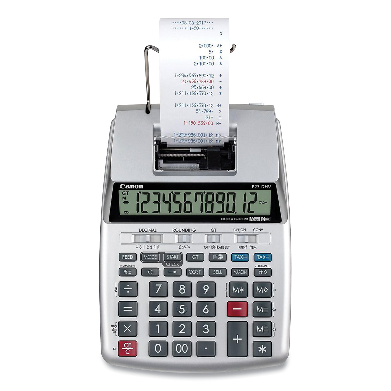 Canon® P23-DHV-3 12-Digit Desktop Calculator, Black/Red Print, 2.3 Lines/Sec