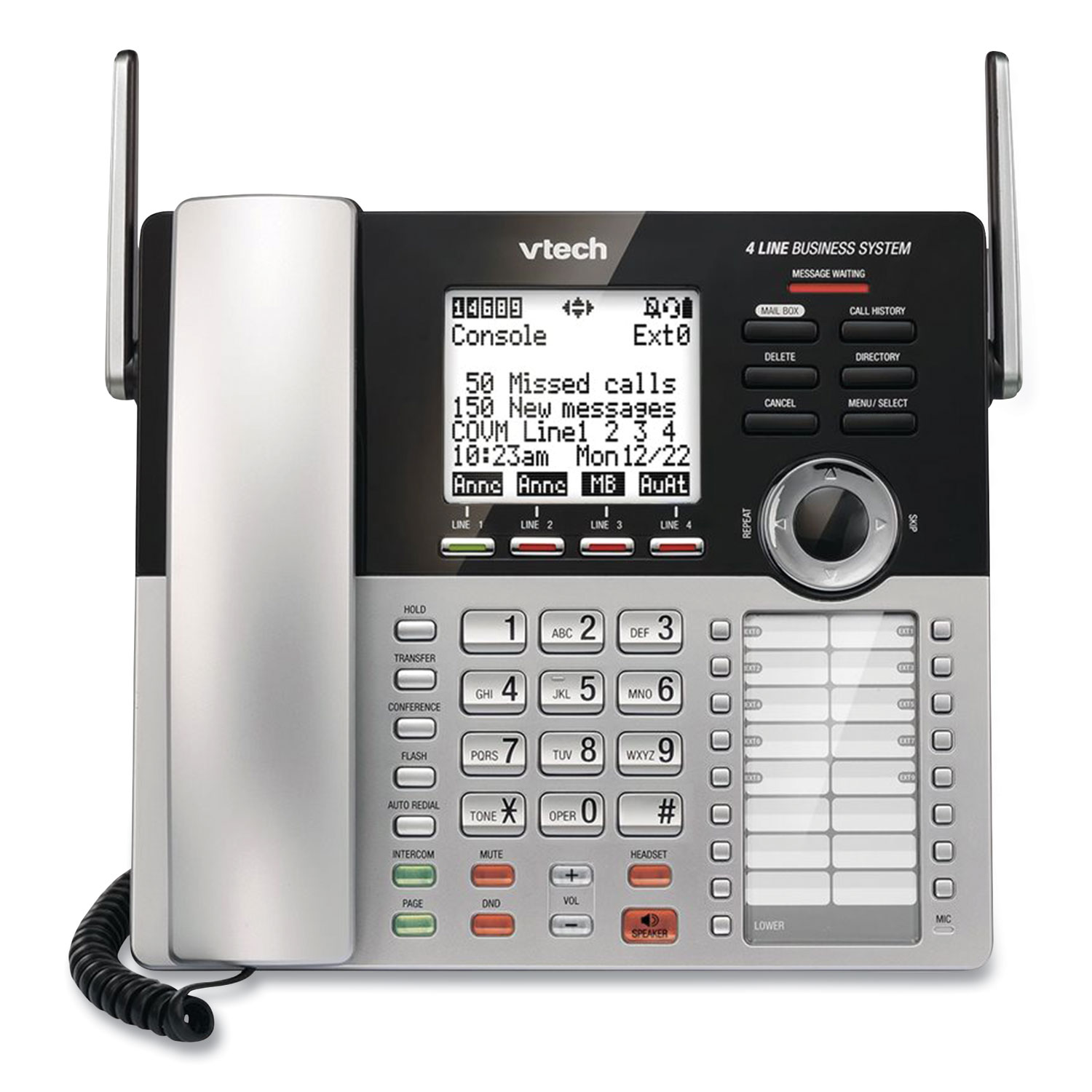 Vtech® CM18445 Four-Line Business System Cordless Phone, Silver/Black