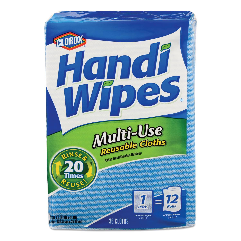 Clorox® Handi Wipes, 21 x 11, Blue, 36 Wipes/Pack, 4 Packs/Carton