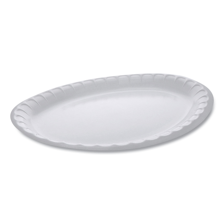 Pactiv Laminated Foam Dinnerware, Platter, Oval, 11.5 x 8.5, White, 500/Carton