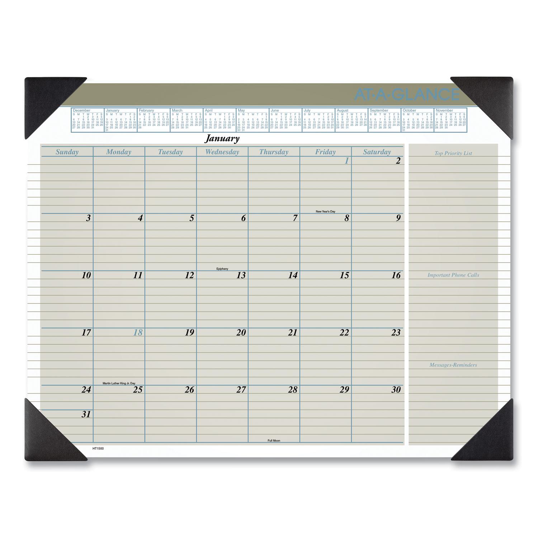 At-A-Glance Executive Monthly Desk Pad Calendar 22 x 17 Buff 2020 HT1500
