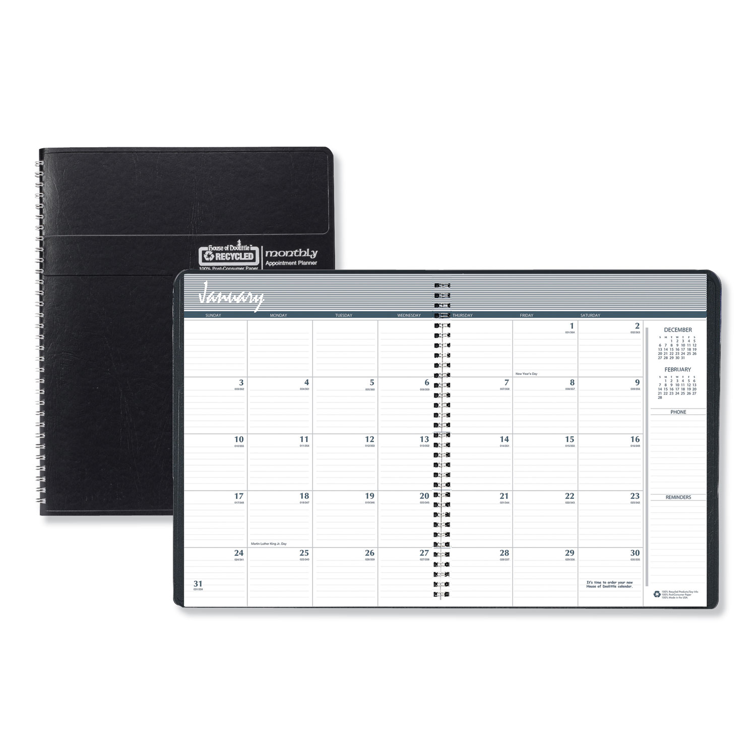 Recycled Ruled Monthly Planner, 14-Month Dec.-Jan., 8.75 x 6.88, Black, 2020-2022