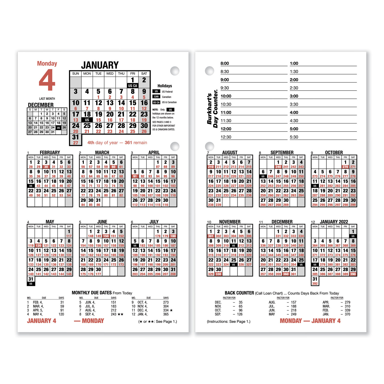Burkhart's Day Counter Desk Calendar Refill, 4.5 x 7.38, White, 2021