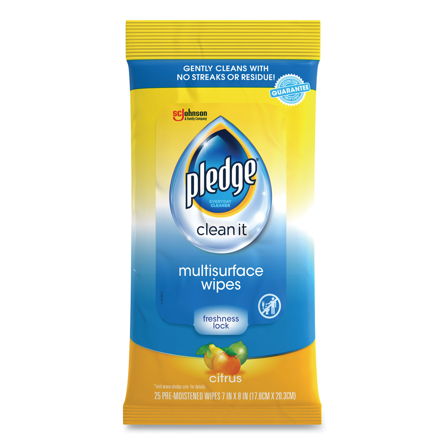 Multi-Surface Cleaner Wet Wipes, Cloth, 7 x 10, Fresh Citrus, 25/Pack