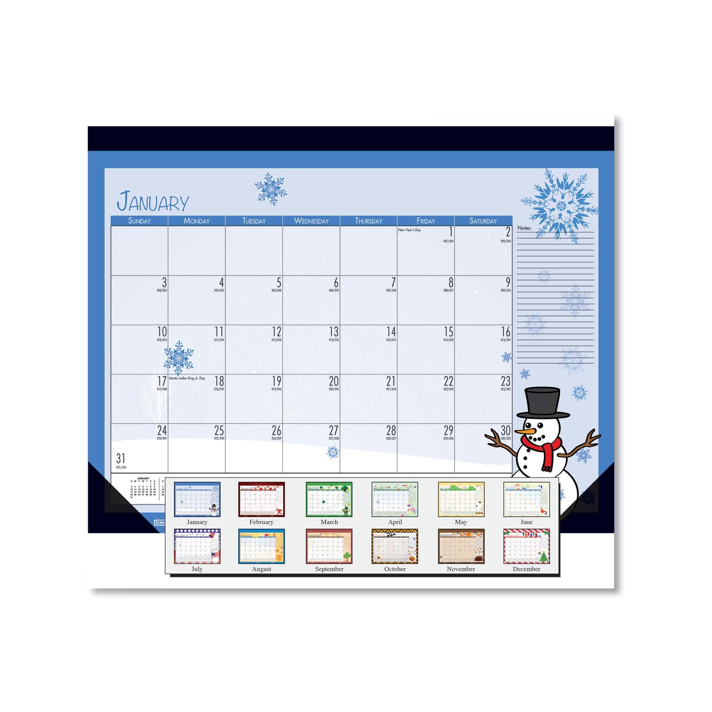 Earthscapes Seasonal Desk Pad Calendar, 22 x 17, Illustrated Holiday, 2021