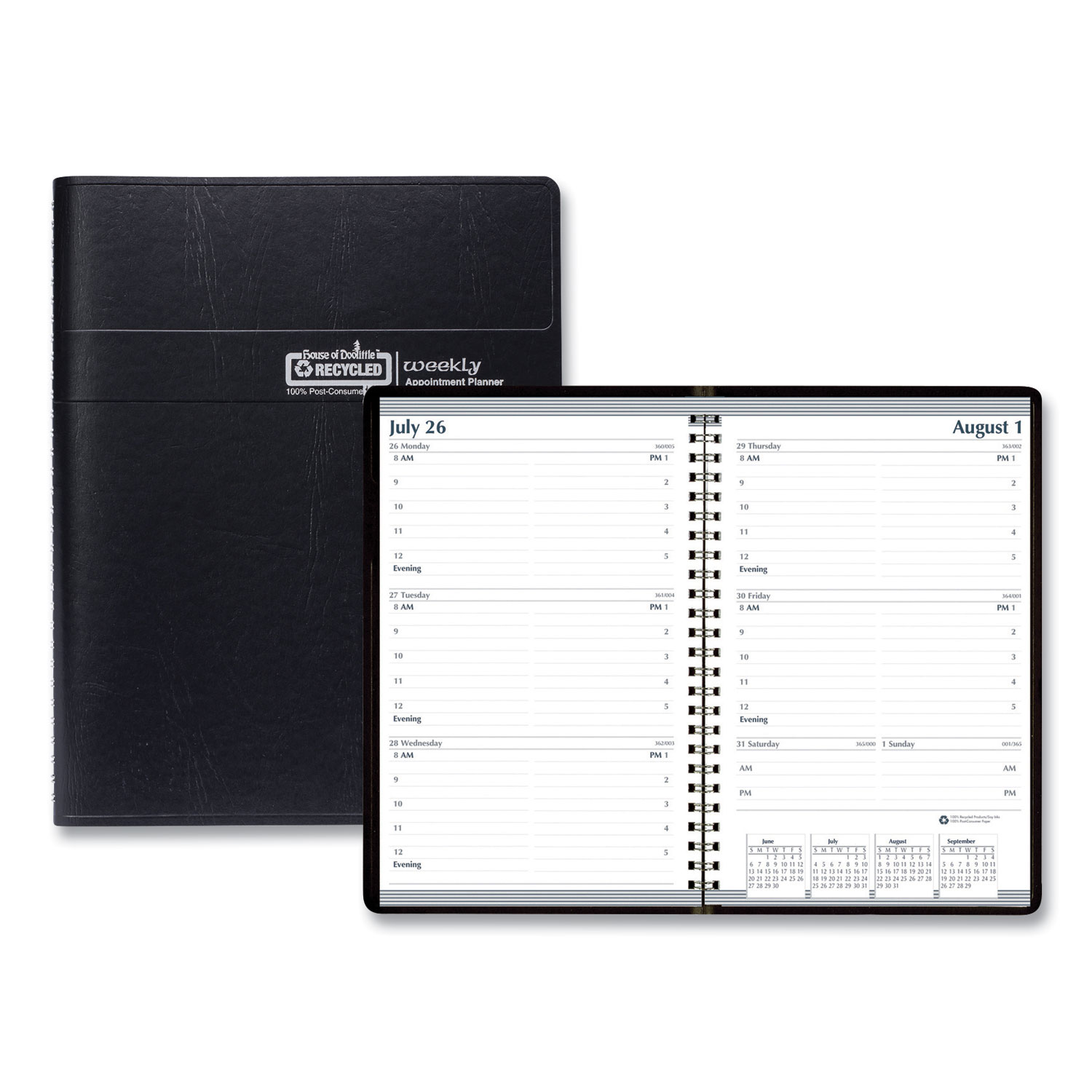 Recycled Weekly Appointment Book, 30-Minute Appointments, 8 x 5, Black, 2021