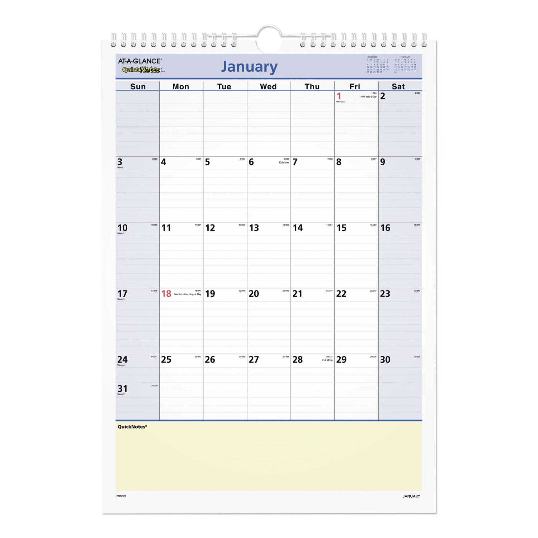 QuickNotes Wall Calendar, 12 x 17, 2021