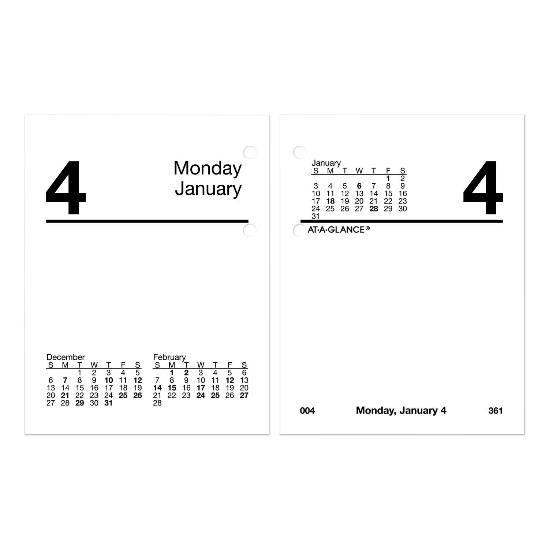 Compact Desk Calendar Refill, 3 x 3.75, White, 2021