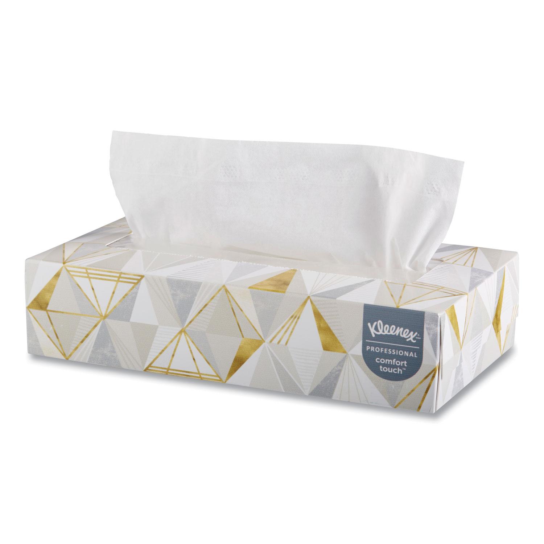 White Facial Tissue, 2-Ply, White, Pop-Up Box, 125 Sheets/Box